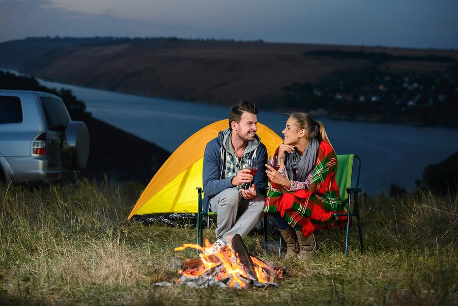 Romantic evening camping